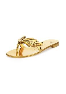 Giuseppe Zanotti Wings Metallic Flat Thong Sandal
