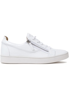 Giuseppe Zanotti Woman Brek Zip-detailed Patent-leather Sneakers White