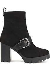 Giuseppe Zanotti Woman Buckled Suede Platform Ankle Boots Black