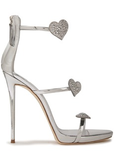 Giuseppe Zanotti Woman Coline 110 Crystal-embellished Mirrored-leather Sandals Silver