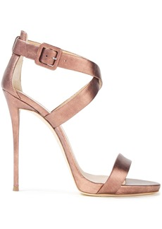 Giuseppe Zanotti Woman Coline 110 Metallic Leather Platform Sandals Copper