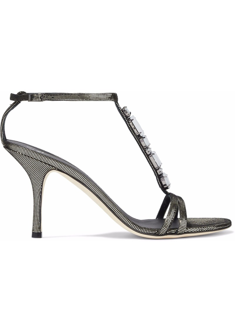 Giuseppe Zanotti Woman Crystal-embellished Metallic Woven Sandals Metallic