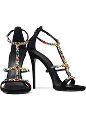 Giuseppe Zanotti Woman Crystal-embellished Suede Sandals Black