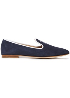 Giuseppe Zanotti Woman Dalila Embroidered Suede Loafers Navy