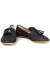 Giuseppe Zanotti Woman Dalila Tasseled Glittered Suede Loafers Black