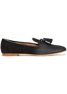 Giuseppe Zanotti Woman Dalila Tasseled Glittered Suede Loafers Black