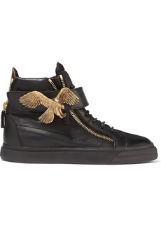 Giuseppe Zanotti Woman Eagle Embellished Pebbled-leather High-top Sneakers Black