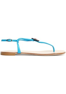 Giuseppe Zanotti Woman Crystal-embellished Leather Sandals Azure