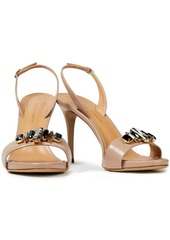 Giuseppe Zanotti Woman Embellished Leather Slingback Sandals Neutral