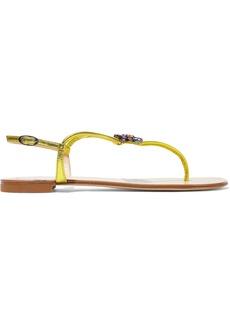Giuseppe Zanotti Woman Embellished Metallic Lizard-effect Leather Sandals Yellow