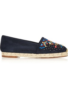 Giuseppe Zanotti Woman Embellished Suede Espadrilles Navy