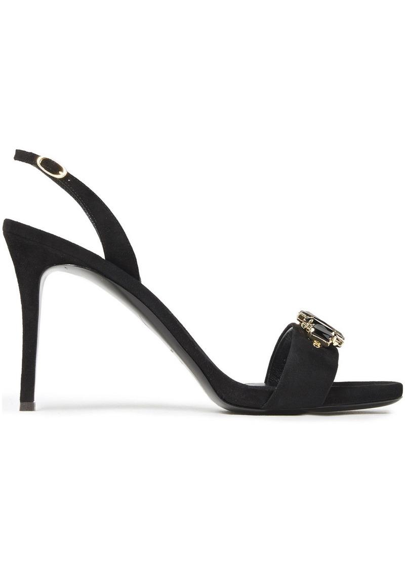 Giuseppe Zanotti Woman Embellished Suede Slingback Sandals Black