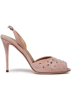 Giuseppe Zanotti Woman Florence Crystal-embellished Suede Slingback Pumps Pastel Pink