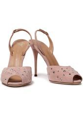 Giuseppe Zanotti Woman Florence Crystal-embellished Suede Slingback Pumps Pastel Pink