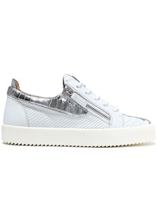 Giuseppe Zanotti Woman Gail Metallic-trimmed Snake-effect Leather Sneakers White