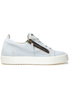 Giuseppe Zanotti Woman Gail Zip-detailed Denim Sneakers Light Denim