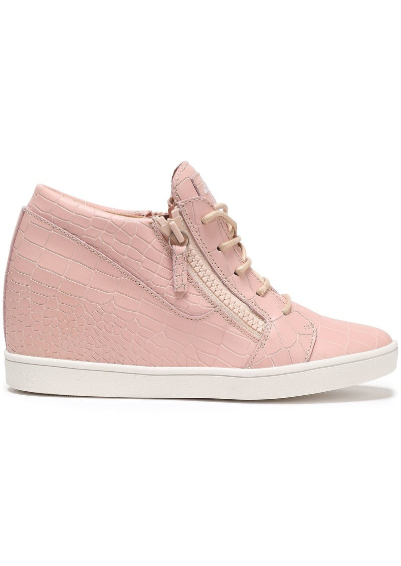 Giuseppe Zanotti Woman Ilean Croc-effect Leather Wedge Sneakers Baby Pink