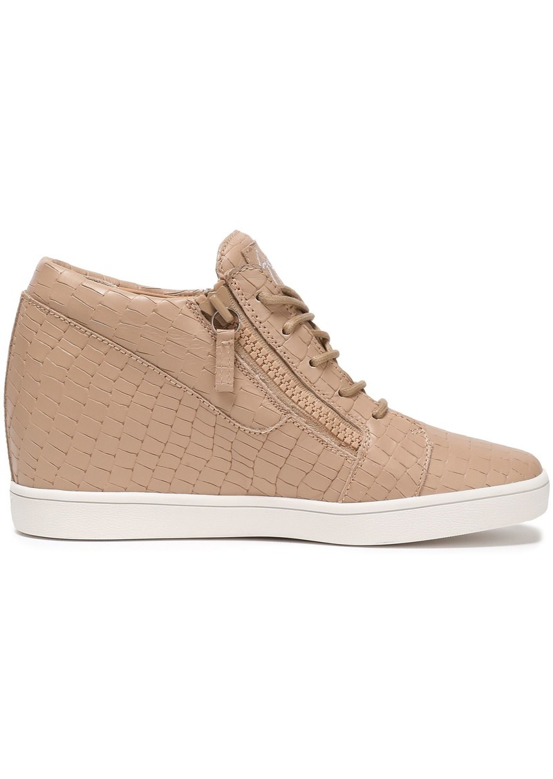 Giuseppe Zanotti Woman Ilean Croc-effect Leather Wedge Sneakers Neutral