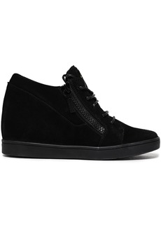 Giuseppe Zanotti Woman Ilean Suede Wedge Sneakers Black