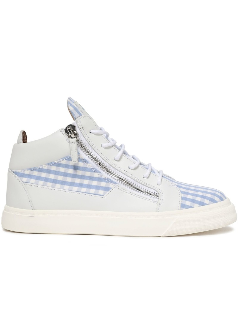 Giuseppe Zanotti Woman Kriss Leather And Gingham Cotton-twill High-top Sneakers Light Blue
