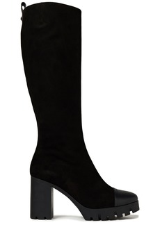 Giuseppe Zanotti Woman Leather-trimmed Suede Platform Knee Boots Black