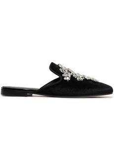 Giuseppe Zanotti Woman Letizia 10 Crystal-embellished Velvet Slippers Black