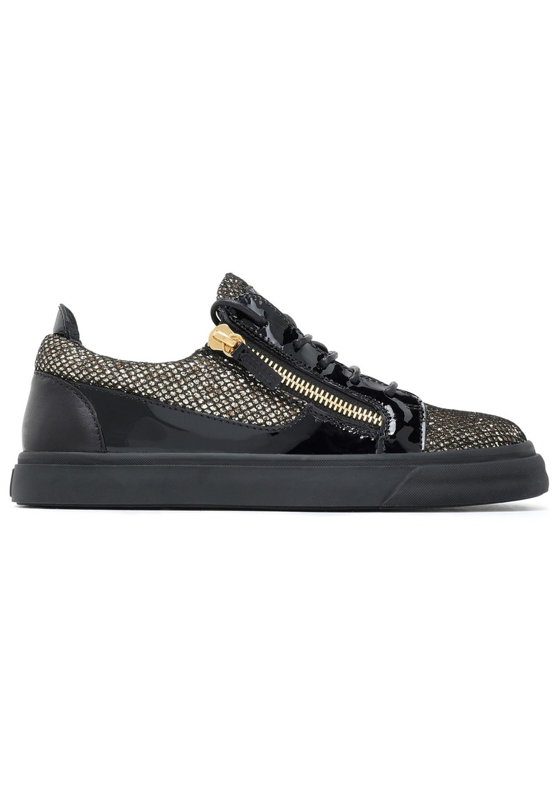 Giuseppe Zanotti Woman London Smooth Glittered And Patent-leather Sneakers Gold