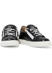 Giuseppe Zanotti Woman London Zip-detailed Croc-effect Leather Sneakers Black
