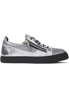 Giuseppe Zanotti Woman London Zip-detailed Glittered Snake-effect And Metallic Leather Sneakers Silver