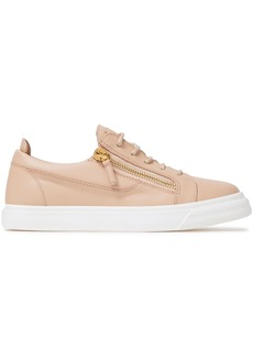 Giuseppe Zanotti Woman London Zip-detailed Leather Sneakers Blush