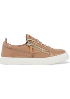 Giuseppe Zanotti Woman London Zip-detailed Patent-leather Sneakers Sand