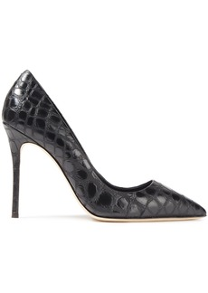 Giuseppe Zanotti Woman Lucrezia 105 Croc-effect Leather Pumps Black