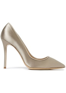 Giuseppe Zanotti Woman Lucrezia 105 Leather-trimmed Satin Pumps Mushroom