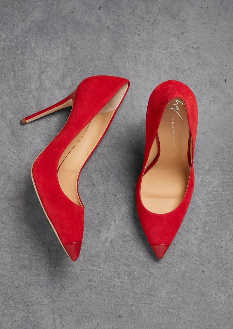 Giuseppe Zanotti Woman Lucrezia 105 Patent Leather-trimmed Suede Pumps Red