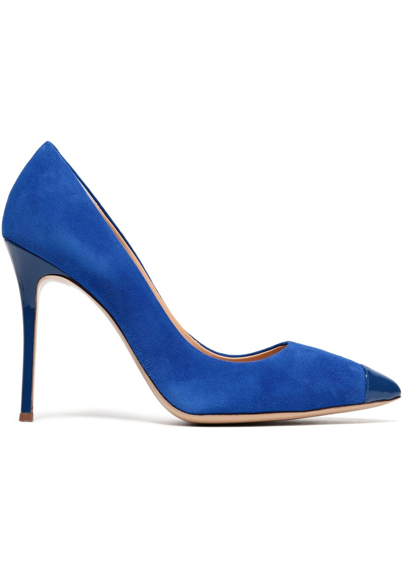 Giuseppe Zanotti Woman Lucrezia 105 Patent Leather-trimmed Suede Pumps Bright Blue