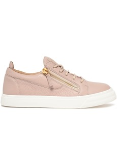 Giuseppe Zanotti Woman Nicki Pebbled-leather Sneakers Blush