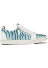 Giuseppe Zanotti Woman Nicki Smooth And Patent Lizard-effect Leather Sneakers Sky Blue