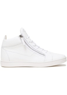 Giuseppe Zanotti Woman Pebbled-leather Sneakers White