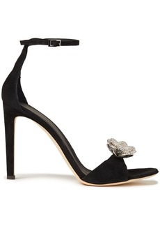 Giuseppe Zanotti Woman Phoebe Nuit Crystal-embellished Suede Sandals Black