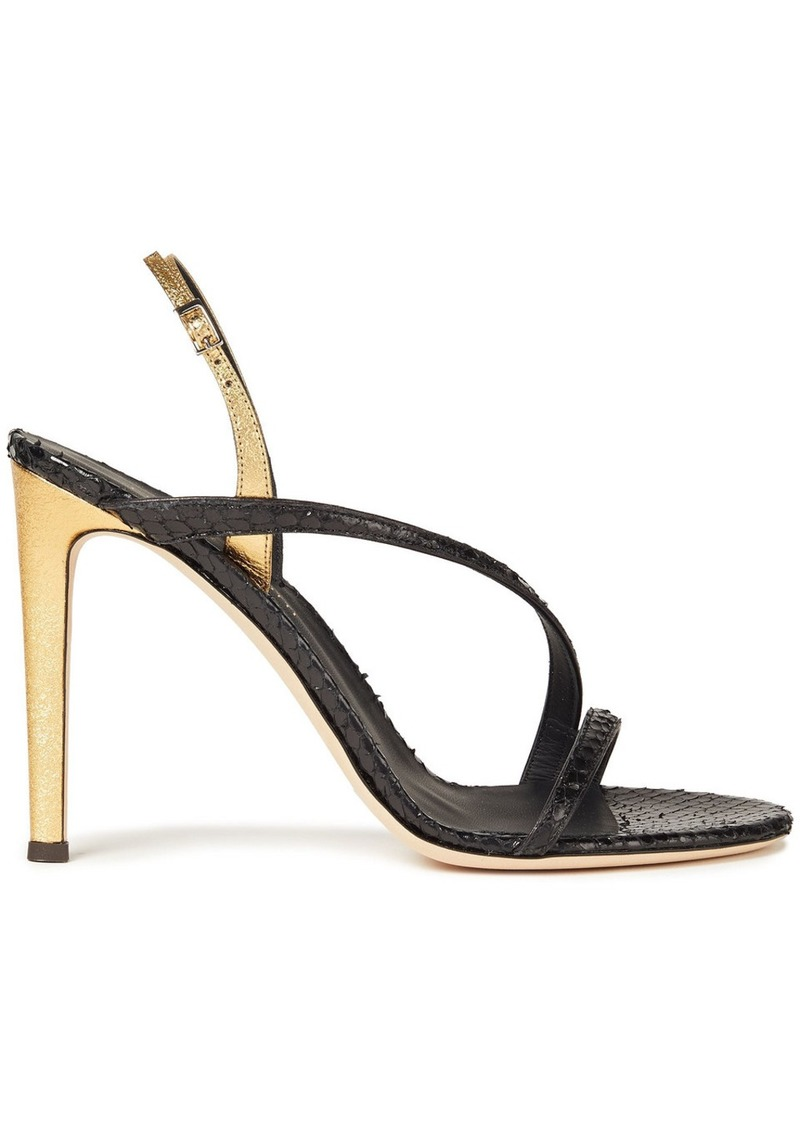 Giuseppe Zanotti Woman Polina Metallic And Snake-effect Leather Slingback Sandals Black