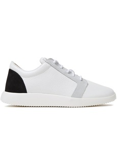 Giuseppe Zanotti Woman Ricamo Singleg Suede-trimmed  Pebbled-leather Sneakers White