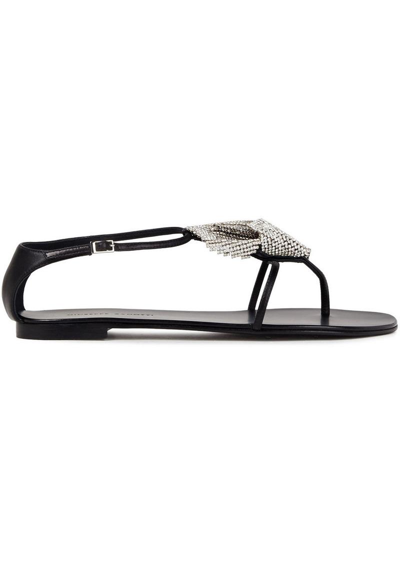 Giuseppe Zanotti Woman Rock 10 Cystal-embellished Leather Sandals Black