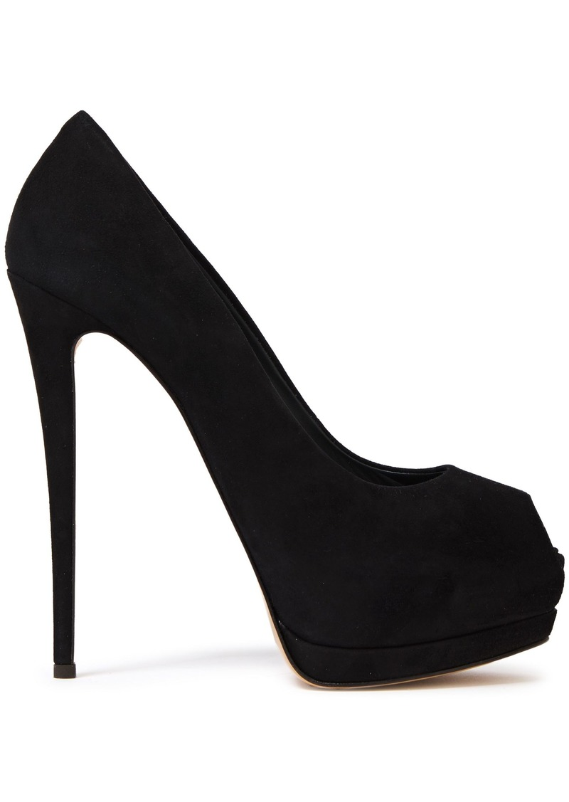 Giuseppe Zanotti Woman Sharon 105 Suede Platform Pumps Black