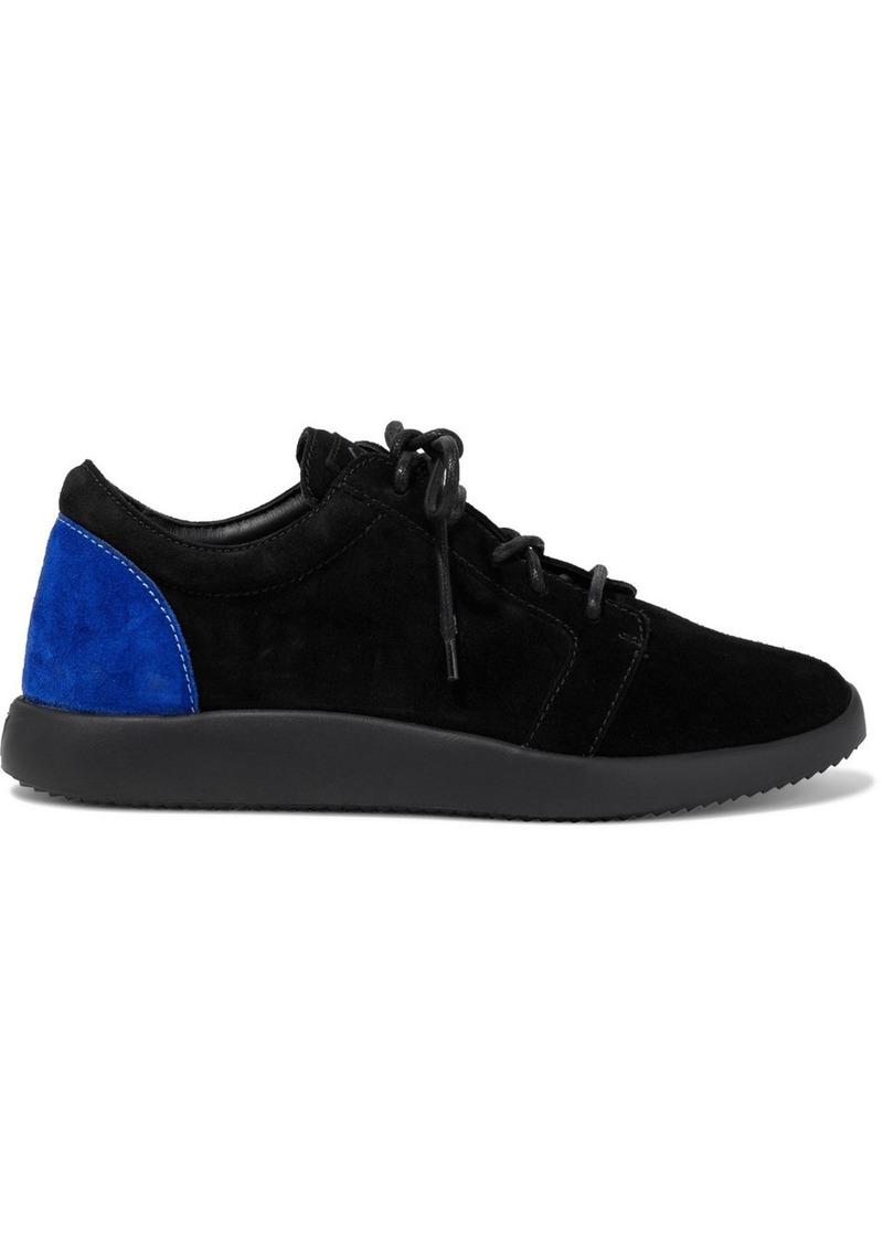 Giuseppe Zanotti Woman Single G Two-tone Suede Sneakers Black