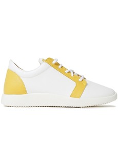 Giuseppe Zanotti Woman Two-tone Smooth And Pebbled-leather Sneakers White