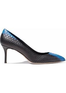 Giuseppe Zanotti Woman Two-tone Snake-effect Leather Pumps Black
