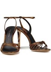 Giuseppe Zanotti Woman Ylenia Knotted Leopard-print And Metallic Leather Sandals Bronze