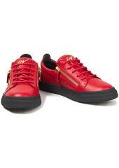 Giuseppe Zanotti Woman Zip-detailed Leather Sneakers Red