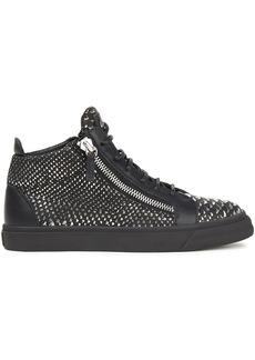 Giuseppe Zanotti Woman Zip-detailed Metallic Snake-effect Leather High-top Sneakers Black