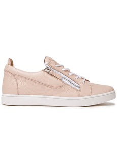 Giuseppe Zanotti Woman Zip-detailed Pebbled-leather Sneakers Beige